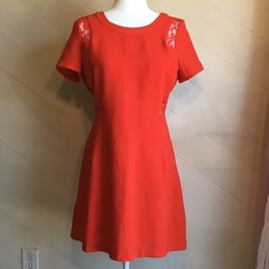 M C.Luce Orange Dress with Lace Cut-outs